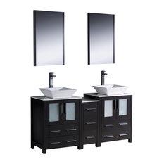 """Fresca Torino 60"""" Espresso Double Sink Vanity w/ Side Cabinet & Sinks"""