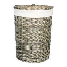 Red Hamper - Antique Wash Round Laundry Basket, Small - Laundry Baskets