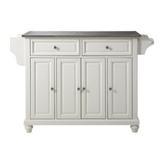 Cambridge Stainless Steel Top Kitchen Island, White Finish