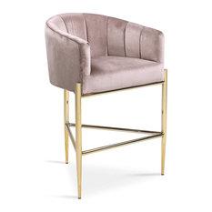 Elegant Bar Stool, Rounded Barrel Shaped Seat With Soft Velvet Upholstery, Blush