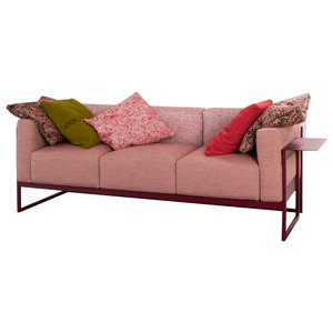 Kirk Contemporary Sofa, Burgundy