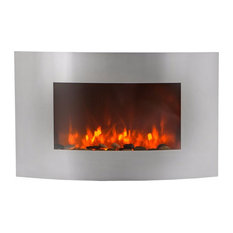 """XtremepowerUS - 35""""X23"""" Curved Electric Heater Fireplace 750With1500W, Stainless Steel - Indoor Fireplaces"""