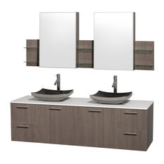 "Amare 72"" Double Vanity Gray Oak, White Stone Top, Altair Black Granite Sink"