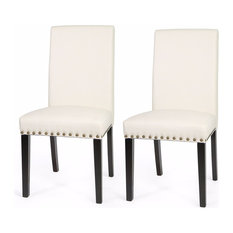 Beau Barton   Nail Head Leather Dining Chair Set Of 2 Cream   Dining Chairs