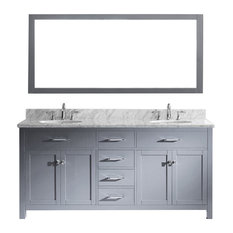 "Virtu Caroline 72"" Double Bathroom Vanity, Gray With Marble Top, With Mirror"