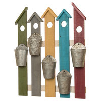 Multi-Colored Wooden Metal Fence Planters