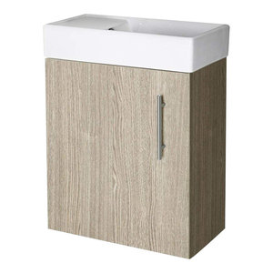 Wall Mounted Vanity Unit, Solid MDF and White Ceramic Basin With 1-Tap Hole