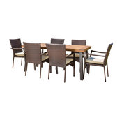 GDF Studio 7-Piece Castlelake Outdoor Dining, Wood Table With Wicker Chairs Set