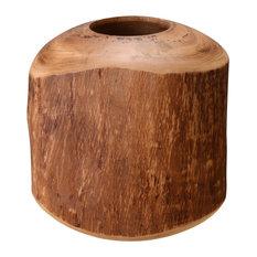 "Villacera Hand Scraped 8"" Round Mango Wood Natural Barrel Vase"