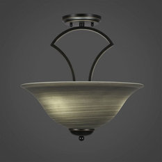 Zilo 3-Light Semi-Flush Mount Dark Granite Gray Linen Glass