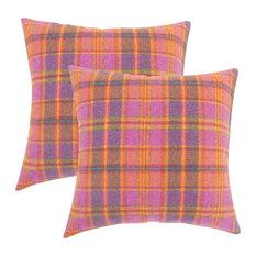 Heaton Plaid Throw Pillows, Set of 2, Pink