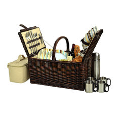 Buckingham Basket For Four With Coffee Set, Brown Wicker and Sc Stripe