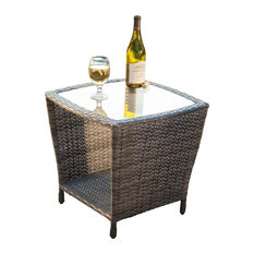 gdfstudio easton outdoor wicker accent table gray outdoor side tables