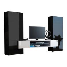 Modern Entertainment Center Wall Unit Tori Fits 65-inchTV Black/White