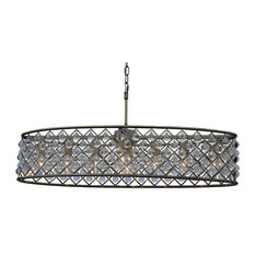 Oval Chandeliers: Light up my home - Cassiel Oval Crystal Drop Chandelier, Antique Brass, 30