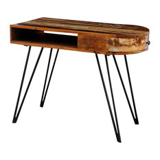 VidaXL Reclaimed Solid Wood Desk With Iron Pin Legs