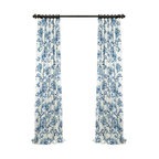 "Indonesian Blue Printed Cotton Twill Curtain, 50""x96"""