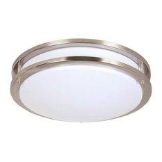 Maxxima - Maxxima 14-inch Satin Nickel Round LED Ceiling Mount Fixture - 3000K Warm White, - Flush-mount Ceiling Lighting