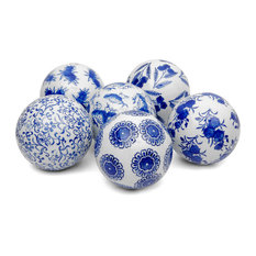"4"" Blue and White Decorative Porcelain Ball Set"