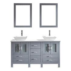 "Bradford 60"" Double Vanity Set, White Square, Polished Chrome, With Mirror"