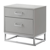 Nicole Miller Lennon Nightstand Metal Handle and Base, Light Gray/Chrome