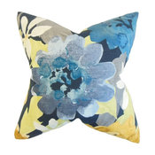 "Penrose Floral Pillow, Red 18""x18"""