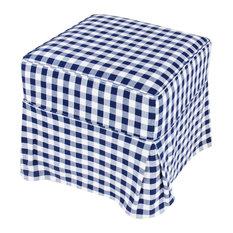 Blue and White Checkered Stool