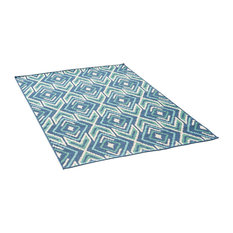 GDF Studio Heather Outdoor Geometric Area Rug, Navy and Green, 5'x8'
