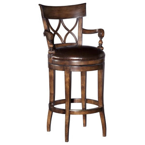 Gdf Studio Brown Traditional Leather 30 5 Quot Swivel Barstool