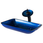 Kraus USA - Irruption Rectangle Glass Vessel Sink and Faucet Set, Blue, Oil Rubbed Bronze - Add a touch of color to your bathroom with a Kraus glass vessel sink and faucet combination. Handcrafted from tempered glass, the modern bathroom sink coordinates with a variety of decor styles. A freestanding basin design creates a dramatic look with contemporary appeal. Vessel installation offers an easy top mount option for all your stylish bathroom ideas. The textured surface of the sink is dynamic and requires minimal maintenance to keep clean. Pair it with a waterfall faucet with matching glass disk for additional value, and create an instant style upgrade for less.