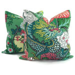 "Pop O Color - Schumacher Chiang Mai Dragon Pillow Covers, 2-Piece Set, Jade, 20""x20"" - *Please Note**"