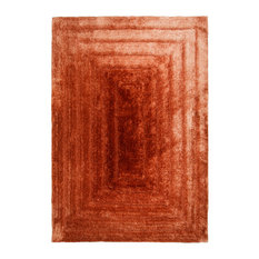 Verge Terracotta Rectangle Plain Rug, 120x170 cm