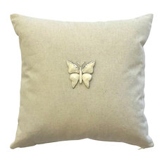 Linen Pillow, Ivory And Silver Removable Butterfly Pin