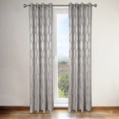 Annabelle Grey Faux Silk Grommet Top 84-inch Curtain Panel Pair