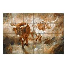 "Ceramic Tile Mural Backsplash ""Freedom"" by Kathy Winkler, 25.5""x17"""