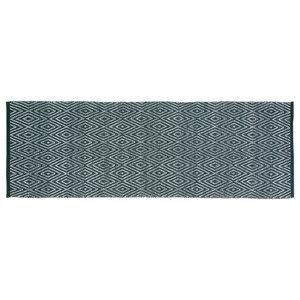 Handwoven Deep Green Diamonds Cotton Rug, 70x200 Cm