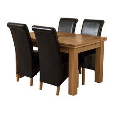 Richmond Oak Extending Table, 4 Montana Chairs, Black Leather