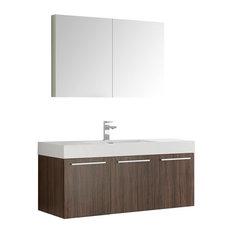 "Fresca Vista 48"" Walnut Wall Hung Modern Bathroom Vanity With Medicine Cabinet"