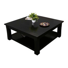 Rustic Solid Wood Black 2-Tier Square Shaker Coffee Table