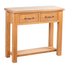 VidaXL Console Table With 2 Drawers, Oak, 83x30x73 cm