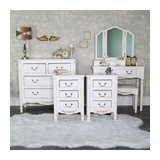 Cream Bedroom Furniture, Dressing Table Set, Chest Of Drawers & Pair of Bedside
