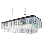 "Lightupmyhome.com - 40"" Rectangular Crystal Fringe Chandelier - Out of a classic, vintage industrial style and some modern flair evolved this stunning piece. A two tier rectangular design and hundreds of glass prisms will create a stunning show piece will for you and your home."