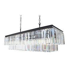 """Lightupmyhome D'Angelo 40"""" Rectangular Crystal Fringe Chandelier"""