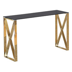 Bordeaux X-Leg Console Table, Gold With Black Glass