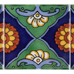 """Fine Crafts & Imports - 4.2""""x4.2"""" Green Sea Talavera Mexican Tile, 9 Pieces - This is a nice pattern tile. Mostly dark green and cobalt blue. It contains some light blue accents and also some terracotta spots. It will be a nice addition to any wall or a border accent. The second picture shows a pattern when more than one tiles are put together."""