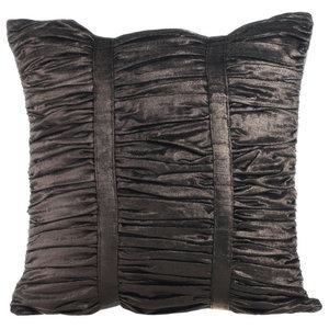 Textured Pintucks 40x40 Velvet Grey Cushion Covers, Grey Beauty