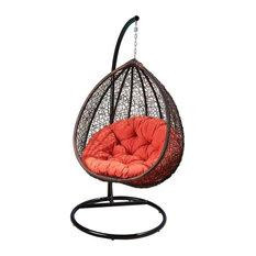 Shermans Outdoor Wicker Patio Swing Chair, Stand, Orange