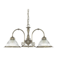 American Diner Traditional 3-Arm Pendant With Clear Ribbed Glass, Antique Brass