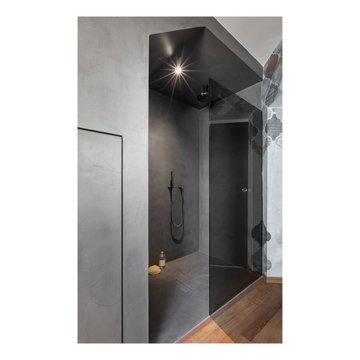 Begehbare Dusche bodeneben mit Trendzement Betonoptik
