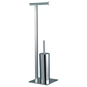 Free-Standing Superbia Toilet Roll Holder and Brush, Polished Chrome Finish